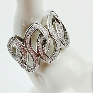 Ring Size 5 Sterling Silver Chunky Sparkle Bling
